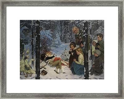 Children In The Snow Framed Print