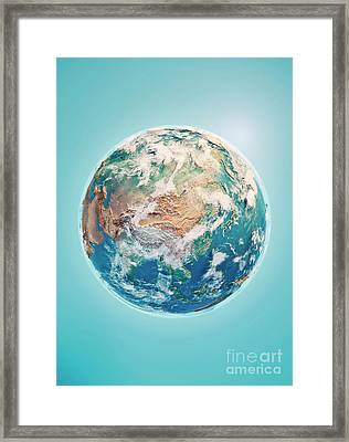 China 3d Render Planet Earth Clouds Framed Print