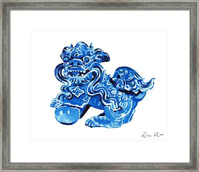 Chinese Foo Dog - Fu Guardian Lion Blue Ceramic Chinoiserie Framed Print