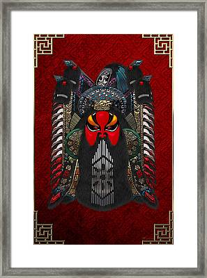 Chinese Masks - Large Masks Series - The Red Face Framed Print by Serge Averbukh