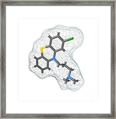 Chlorpromazine, Molecular Model Framed Print by Spencer Sutton