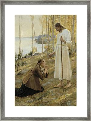 Christ And Mary Magdalene, A Finnish Legend Framed Print