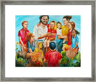 Christ And The Children Framed Print by Marguerite Ujvary Taxner