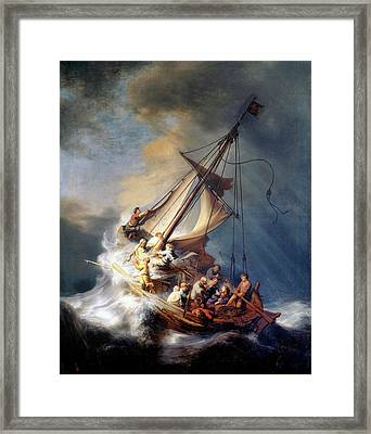 Christ And The Storm Framed Print