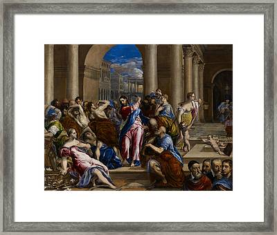 Christ Driving The Money Changers From The Temple Framed Print by El Greco