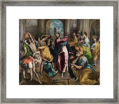Christ Driving The Traders From The Temple Framed Print by El Greco
