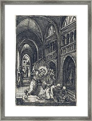 Christ Expelling The Money Changers Framed Print by Albrecht Altdorfer