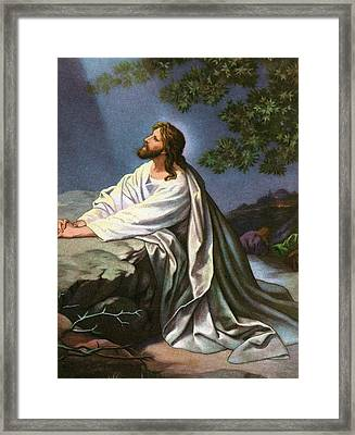 Christ In The Garden Of Gethsemane Framed Print by Heinrich Hofmann