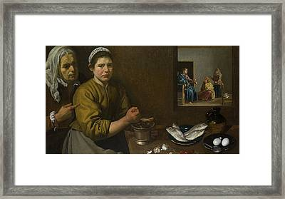 Christ In The House Of Martha And Mary Framed Print