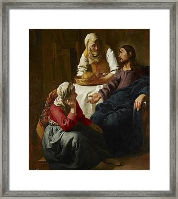 Christ In The House Of Martha And Mary Framed Print by Jan Vermeer