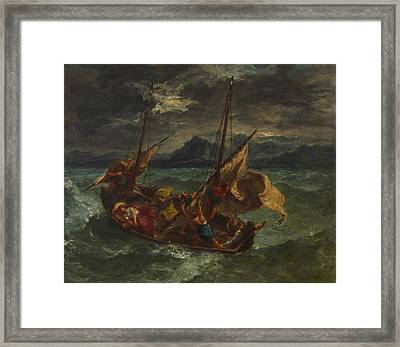 Christ On The Sea Of Galilee Framed Print by Eugene Delacroix