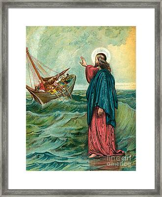 Christ Walking On The Sea Framed Print by English School