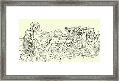Christ Walking On The Water Framed Print