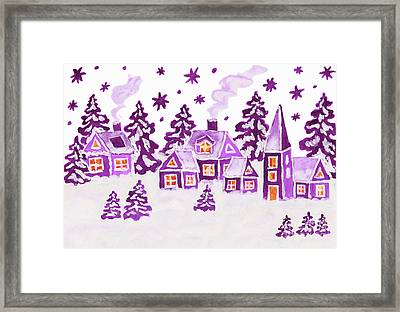 Christmas Picture In Raspberry Pink Colours Framed Print
