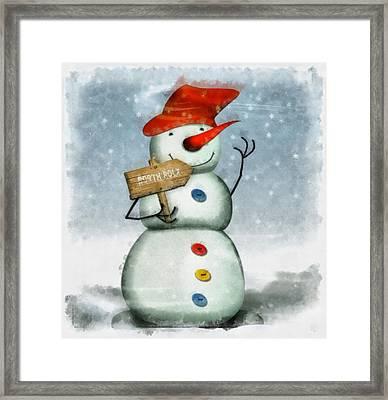 Christmas Snowman Framed Print by Esoterica Art Agency