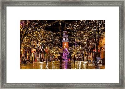 Christmas Time On Church Street. Framed Print