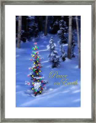 Christmas Tree On A Snowy Hillside Framed Print by Utah Images