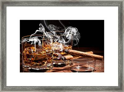 Cigar And Alcohol Collection Framed Print by Marvin Blaine