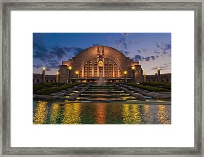 Cincinnati Museum Center At Twilight Framed Print by Keith Allen