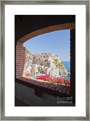 Cinque Terre Town Of Manarola Framed Print by Jeremy Woodhouse