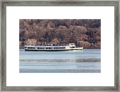 Circle Line Cruise Boat On Hudson River Framed Print