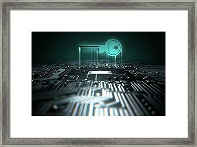 Circuit Board Projecting Key Framed Print by Allan Swart