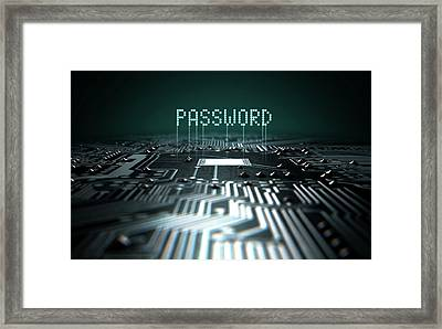 Circuit Board Projecting Password Framed Print