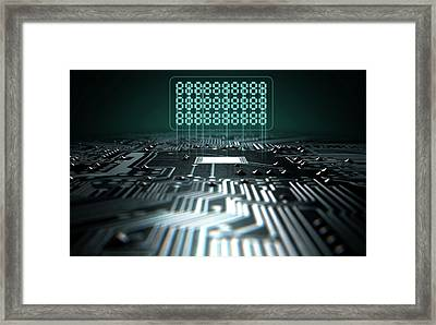 Circuit Board Projecting Text Framed Print by Allan Swart