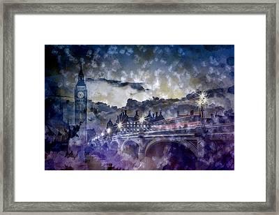 City-art London Westminster Bridge At Sunset Framed Print by Melanie Viola