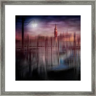City-art Venice Gondolas At Sunset Framed Print by Melanie Viola