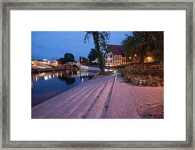 City Of Bydgoszcz By Night In Poland Framed Print