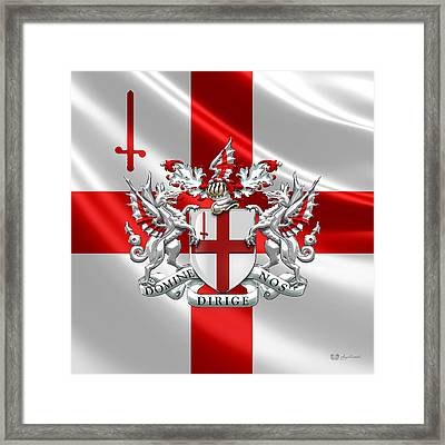 City Of London - Coat Of Arms Over Flag  Framed Print by Serge Averbukh
