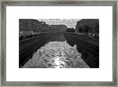 City Reflected In The Water Channels Framed Print