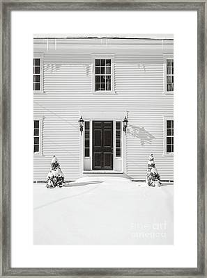 Classic New England Wood Framed Colonial Home In Winter Framed Print