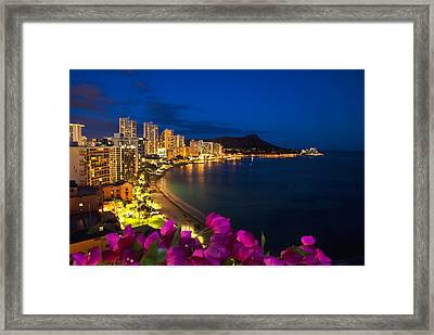 Classic Waikiki Nightime Framed Print by Tomas del Amo - Printscapes