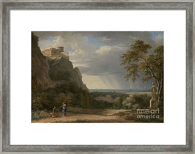 Classical Landscape With Figures And Sculpture Framed Print by Celestial Images