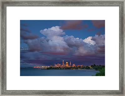 Framed Print featuring the photograph Cleveland Skyline  by Emmanuel Panagiotakis