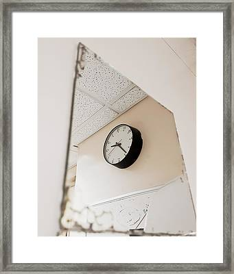 Clock In The Mirror Framed Print by Tom Gowanlock