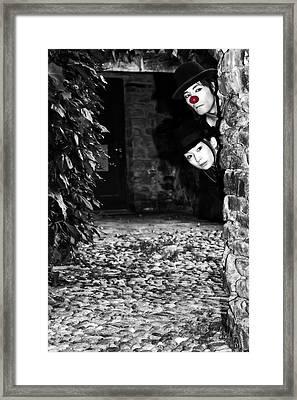 Clown Couple Framed Print by Joana Kruse