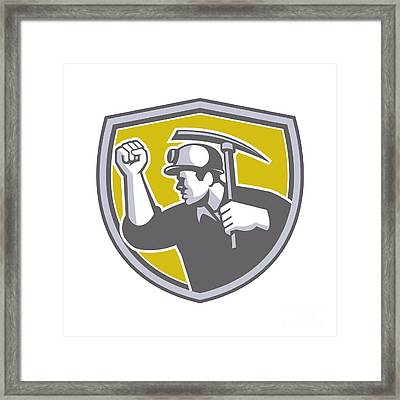 Coal Miner Clenched Fist Pick Axe Shield Retro Framed Print by Aloysius Patrimonio