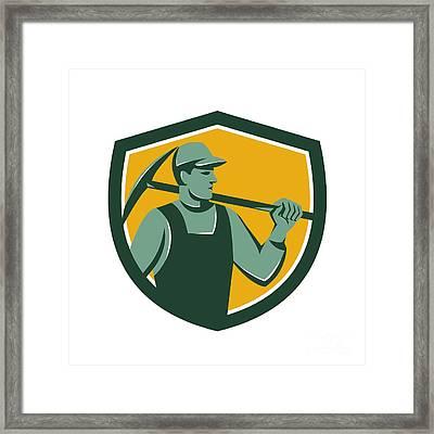 Coal Miner With Pick Axe Shield Retro Framed Print by Aloysius Patrimonio