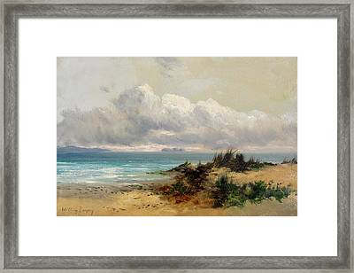 Coastal Scene With Sand Dune Framed Print by MotionAge Designs