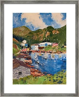 Coastal Village, Newfoundland Framed Print