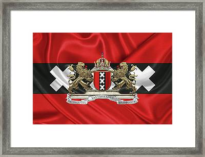 Coat Of Arms Of Amsterdam Over Flag Of Amsterdam Framed Print by Serge Averbukh