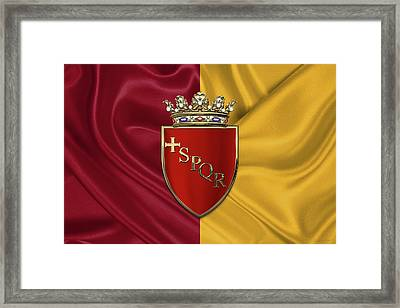 Coat Of Arms Of Rome Over Flag Of Rome Framed Print by Serge Averbukh