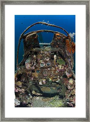 Cockpit Of A Mitsubishi Zero Fighter Framed Print by Steve Jones