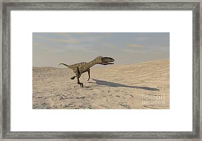 Coelophysis Running Across A Barren Framed Print by Kostyantyn Ivanyshen