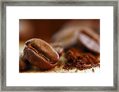 Coffee Beans And Ground Coffee Framed Print
