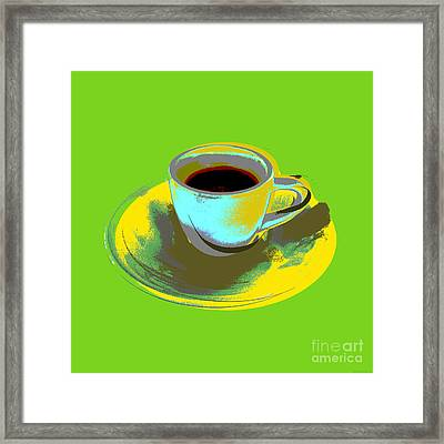 Framed Print featuring the digital art Coffee Cup Pop Art by Jean luc Comperat