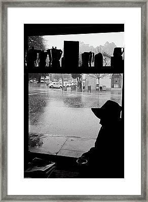 Coffee In The Rain Framed Print